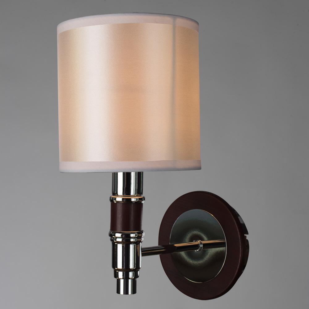 Бра Arte Lamp Circolo A9519AP-1BR, 1xE14x40W, коричневый, белый, металл, дерево, текстиль - фото 2