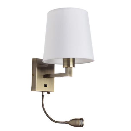 Бра с дополнительной подсветкой Arte Lamp Hall A9246AP-2AB, 1xE27x40W + LED 3W 3000K 180lm CRI≥80, бронза, белый, металл, текстиль