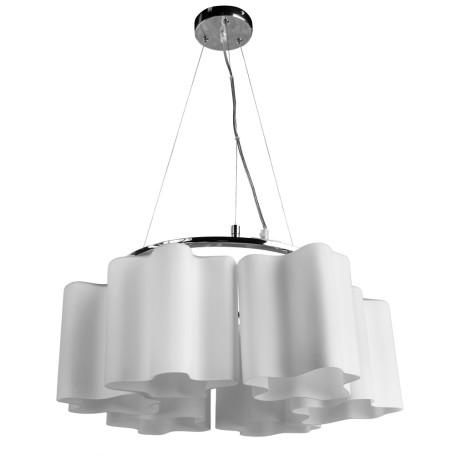 Подвесная люстра Arte Lamp Serenata A3479SP-6CC, 6xE27x40W, хром, белый, металл, стекло