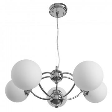 Подвесная люстра Arte Lamp Palla A9432SP-5CC, 5xE27x40W, хром, белый, металл, стекло