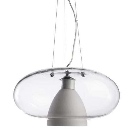 Подвесной светильник Arte Lamp Aries A1260SP-1SS, 1xE27x40W, серебро, белый, прозрачный, металл, стекло