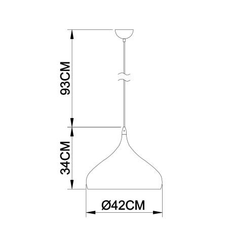 Схема с размерами Arte Lamp A3266SP-1WH