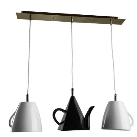 Подвесной светильник Arte Lamp Caffetteria A6604SP-3WH, 3xE14x40W, хром, черный, черно-белый, металл, пластик