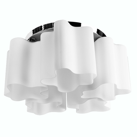 Потолочная люстра Arte Lamp Serenata A3479PL-5CC, 5xE27x40W, хром, белый, металл, стекло