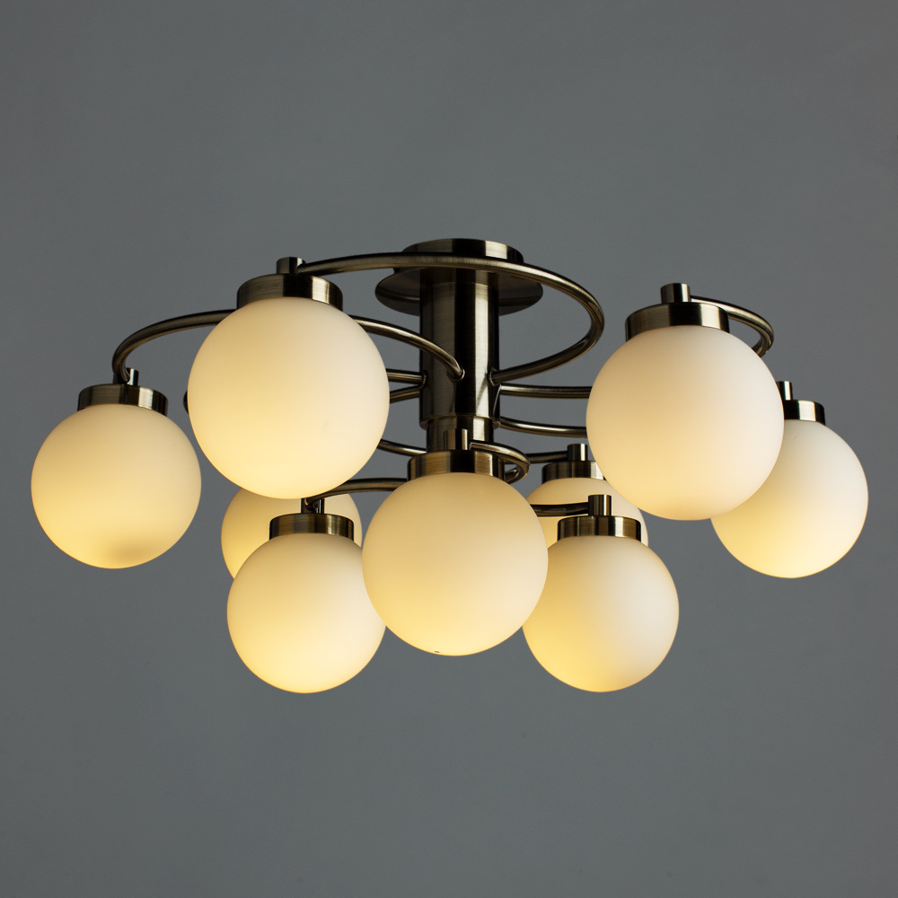 Потолочная люстра Arte Lamp Cloud A8170PL-9AB, 9xE14x40W, бронза, белый, металл, стекло - фото 2