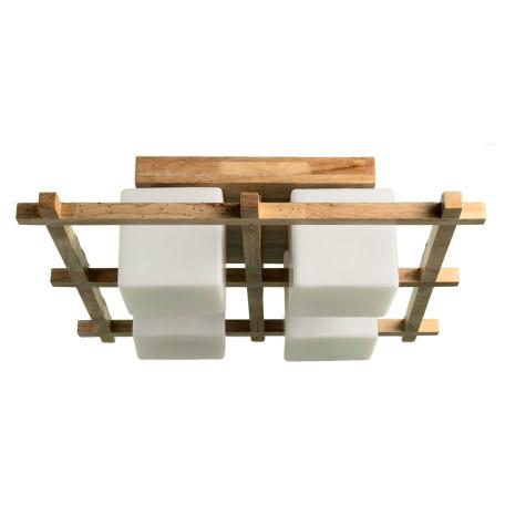 Потолочная люстра Arte Lamp Woods A8252PL-4BR, 4xE27x60W, коричневый, белый, дерево, стекло