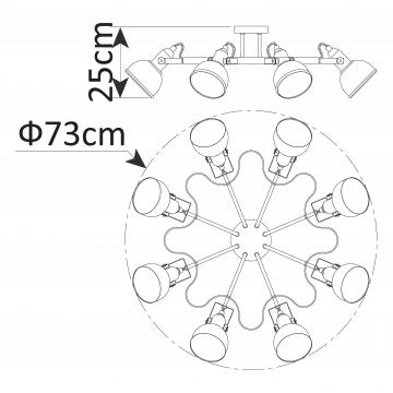 Схема с размерами Arte Lamp A5216PL-8WG