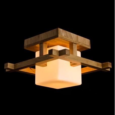 Потолочный светильник Arte Lamp Woods A8252PL-1BR, 1xE27x60W, коричневый, белый, дерево, стекло - миниатюра 2