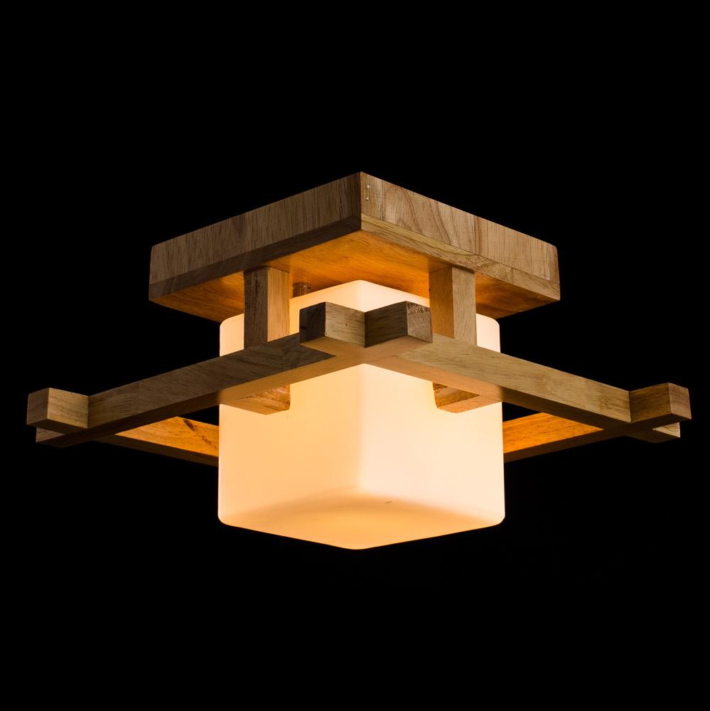 Потолочный светильник Arte Lamp Woods A8252PL-1BR, 1xE27x60W, коричневый, белый, дерево, стекло - фото 2