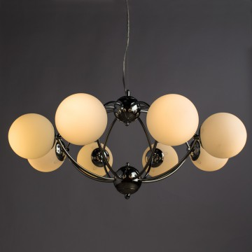 Подвесная люстра Arte Lamp Palla A9432SP-8CC, 8xE27x40W, хром, белый, металл, стекло