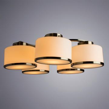 Потолочная люстра Arte Lamp Manhattan A9495PL-5AB, 5xE27x40W, бронза, белый, металл, стекло