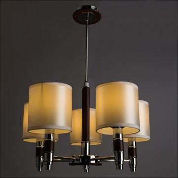 Подвесная люстра Arte Lamp Circolo A9519LM-5BR, 5xE14x40W, коричневый, хром, белый, металл, дерево, текстиль