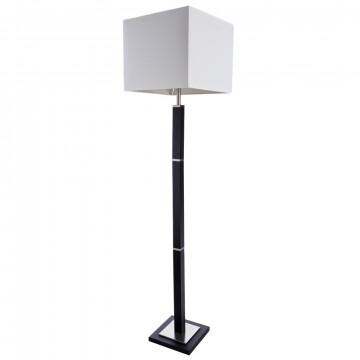 Торшер Arte Lamp Waverley A8880PN-1BK, 1xE27x60W, черный с хромом, белый, дерево, текстиль