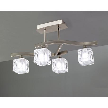 Потолочная люстра Mantra Cuadrax 0004049, никель, матовый, прозрачный, металл, стекло