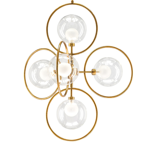 Подвесная люстра Lightstar Alfa 745053, 5xG9x40W, матовое золото, прозрачный, металл, металл со стеклом