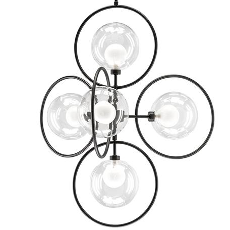 Подвесная люстра Lightstar Alfa 745057, 5xG9x40W, черный, прозрачный, металл, металл со стеклом