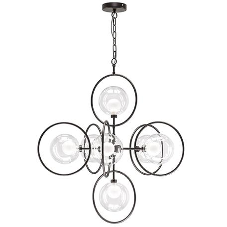Подвесная люстра Lightstar Alfa 745077, 7xG9x40W, черный, белый, прозрачный, металл, стекло