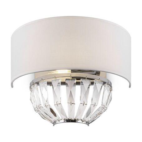 Светильник Maytoni Pantheon H021WL-02CH, 2xE14x40W, хром с прозрачным, прозрачный с хромом, белый, хрусталь, текстиль
