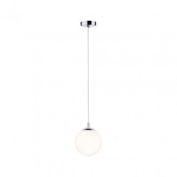 Подвесной светильник Paulmann Globe 70895, IP44, 1xE27x20W, хром, белый, металл, стекло