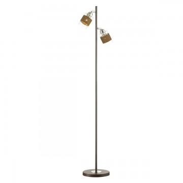 Торшер Lumion Filla 3030/2F, 2xE27x60W, коричневый, хром, прозрачный, металл, стекло, текстиль