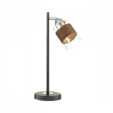 Настольная лампа Lumion Filla 3030/1T, 1xE27x60W, венге, хром, коричневый, прозрачный, металл, стекло, текстиль