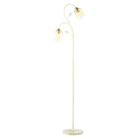 Торшер Lumion Filla 3029/2F, 2xE27x60W, белый с золотой патиной, золото, белый, прозрачный, металл, стекло, текстиль