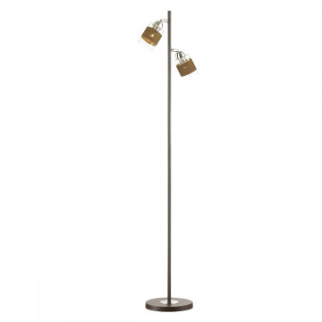 Торшер Lumion Filla 3030/2F, 2xE27x60W, венге, хром, коричневый, прозрачный, металл, стекло, текстиль
