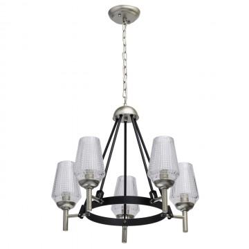 Подвесная люстра MW-Light Альгеро 285011305, серебро, черный, прозрачный, металл, стекло