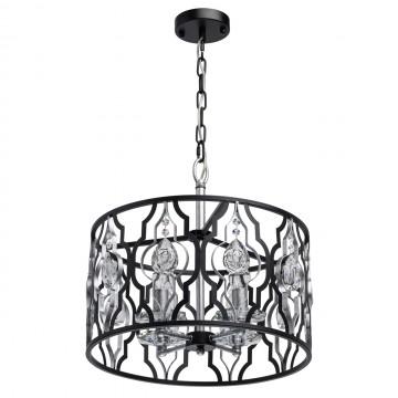 Подвесная люстра MW-Light Альгеро 285011804, прозрачный, черный, серебро, металл, хрусталь