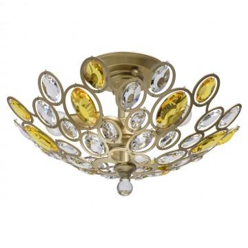 Потолочная люстра MW-Light Лаура 345012903, перламутровый, желтый, прозрачный, металл, хрусталь