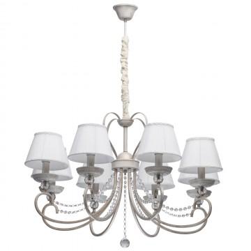 Подвесная люстра MW-Light Августина 419011708, белый с золотой патиной, прозрачный, белый, металл, хрусталь, текстиль