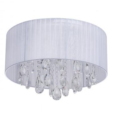Потолочная люстра MW-Light Жаклин 465015606, хром, белый, прозрачный, металл, текстиль, хрусталь