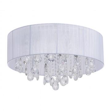 Потолочная люстра MW-Light Жаклин 465015709, хром, белый, прозрачный, металл, текстиль, хрусталь