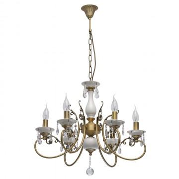 Подвесная люстра MW-Light Свеча 683012406, белый, матовое золото, прозрачный, керамика, металл, хрусталь