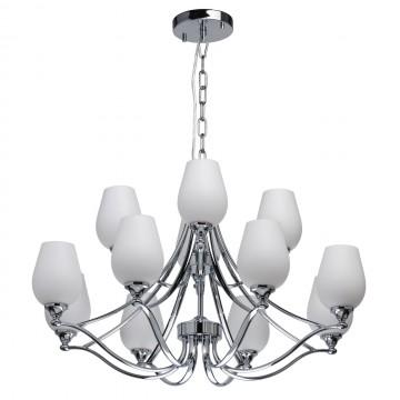 Подвесная люстра Chiaro Палермо 386016512, хром, белый, металл, стекло