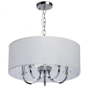 Подвесная люстра Chiaro Палермо 386017205, 5xE14x60W, хром, белый, металл с хрусталем, текстиль