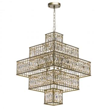 Подвесная люстра MW-Light Монарх 121012416, 16xE14x40W, матовое золото, коньячный, металл, хрусталь