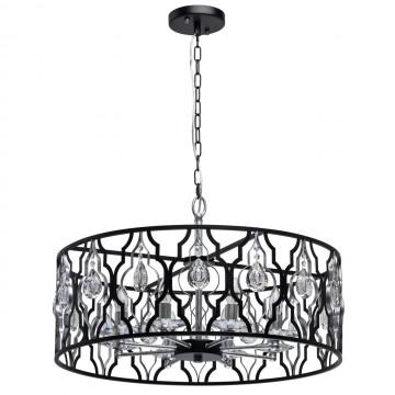 Подвесная люстра MW-Light Альгеро 285011908, 8xE14x40W, черный, металл с хрусталем