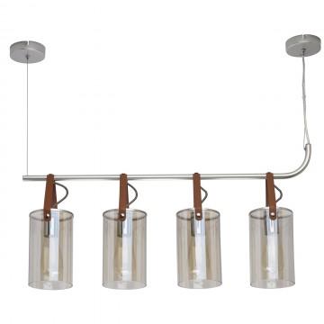 Подвесной светильник De Markt Тетро 673014604, 4xE27x40W, серебро, коричневый, коньячный, металл, кожа, стекло