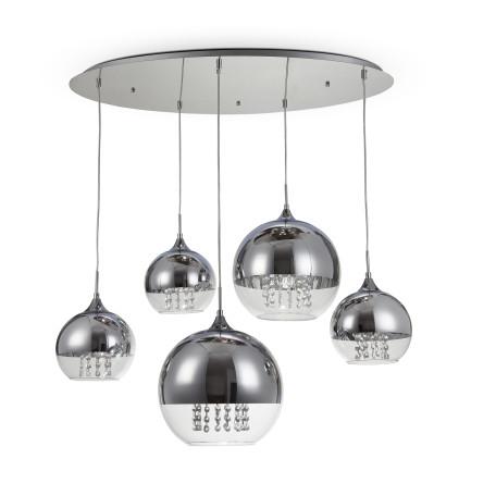 Люстра-каскад Maytoni Fermi P140-PL-170-5-N (f140-05-n), 5xE27x60W, никель, хром, прозрачный, металл, металл со стеклом, стекло