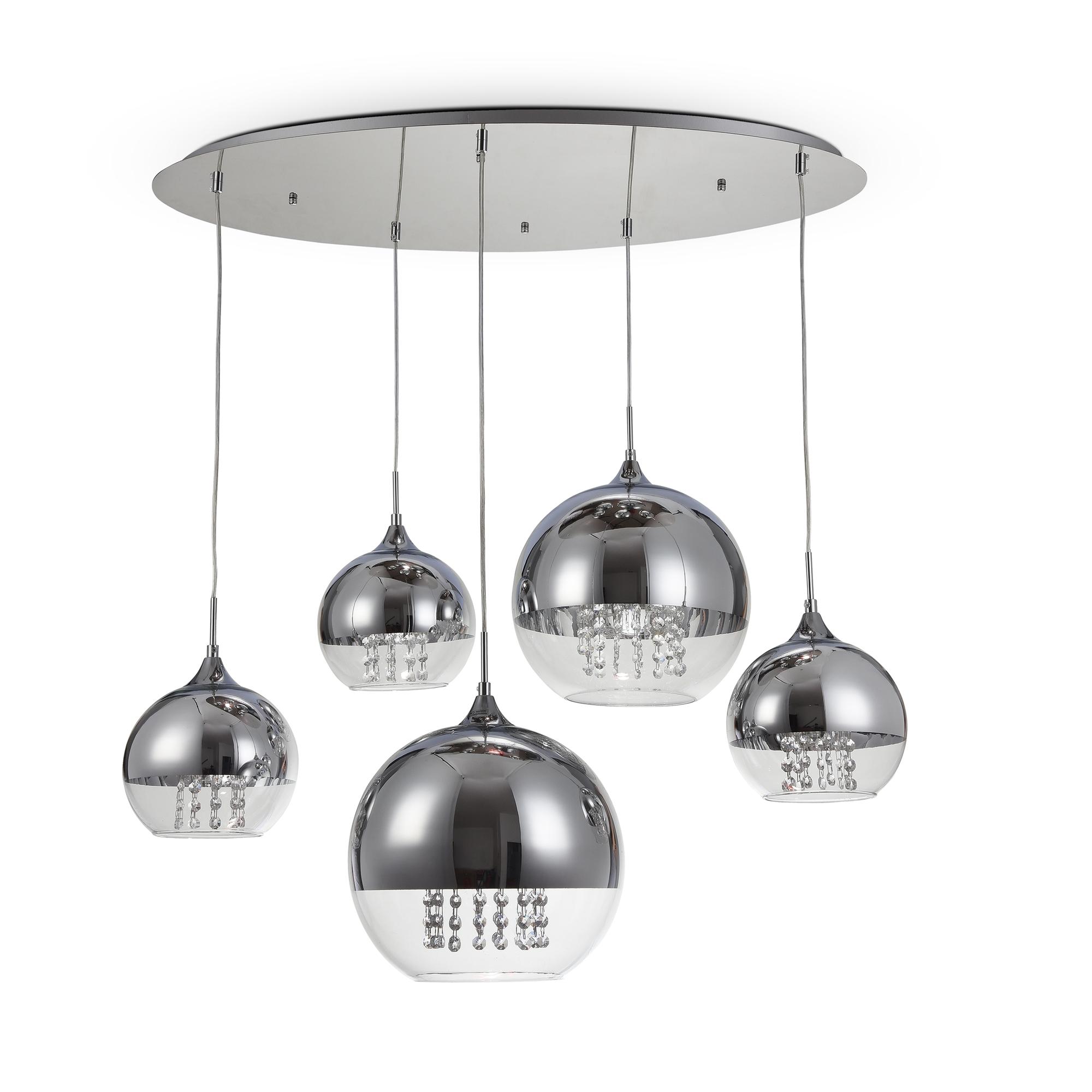 Люстра-каскад Maytoni Fermi P140-PL-170-5-N (F140-05-N), 5xE27x60W, никель, хром с прозрачным, прозрачный с хромом, прозрачный, металл, стекло - фото 1