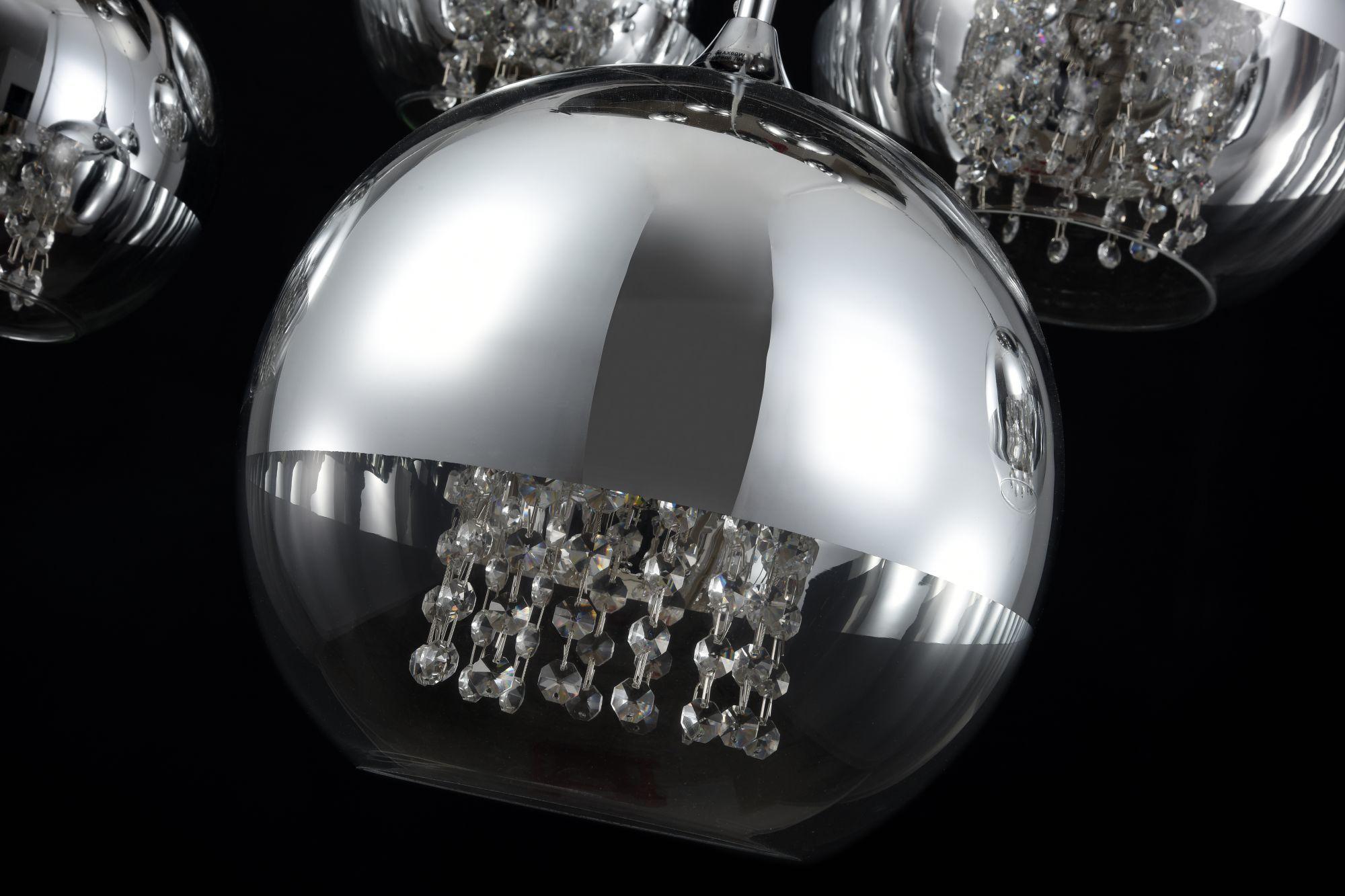 Люстра-каскад Maytoni Fermi P140-PL-170-5-N (F140-05-N), 5xE27x60W, никель, хром с прозрачным, прозрачный с хромом, прозрачный, металл, стекло - фото 7