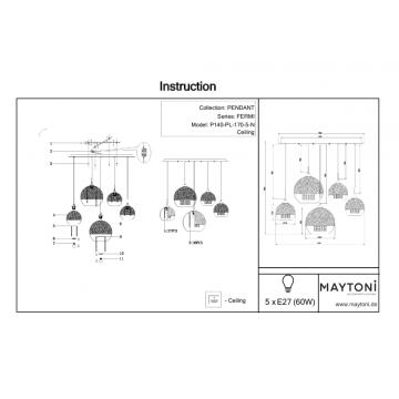 Схема с размерами Maytoni P140-PL-170-5-N