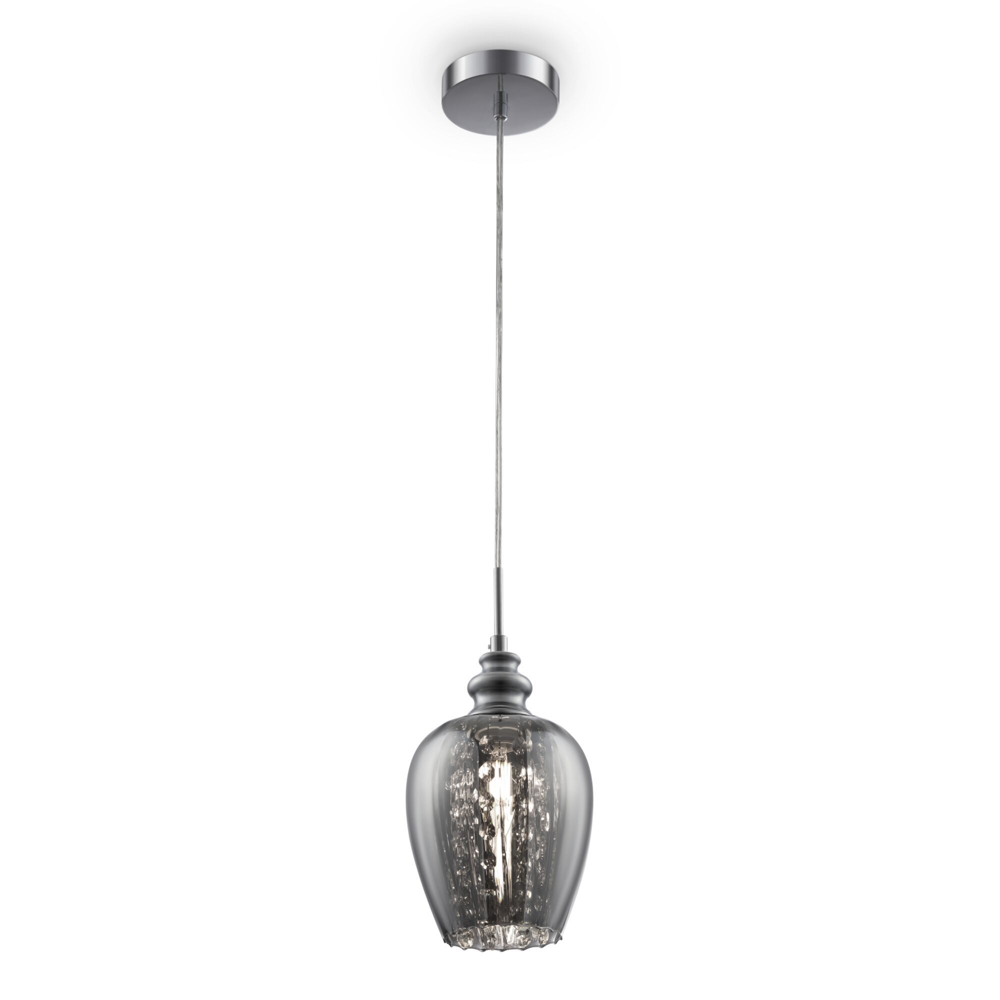 Подвесной светильник Maytoni Blues MOD033-PL-01-N (F003-11-N), 1xE14x40W, никель, дымчатый, прозрачный, металл, стекло, хрусталь - фото 1