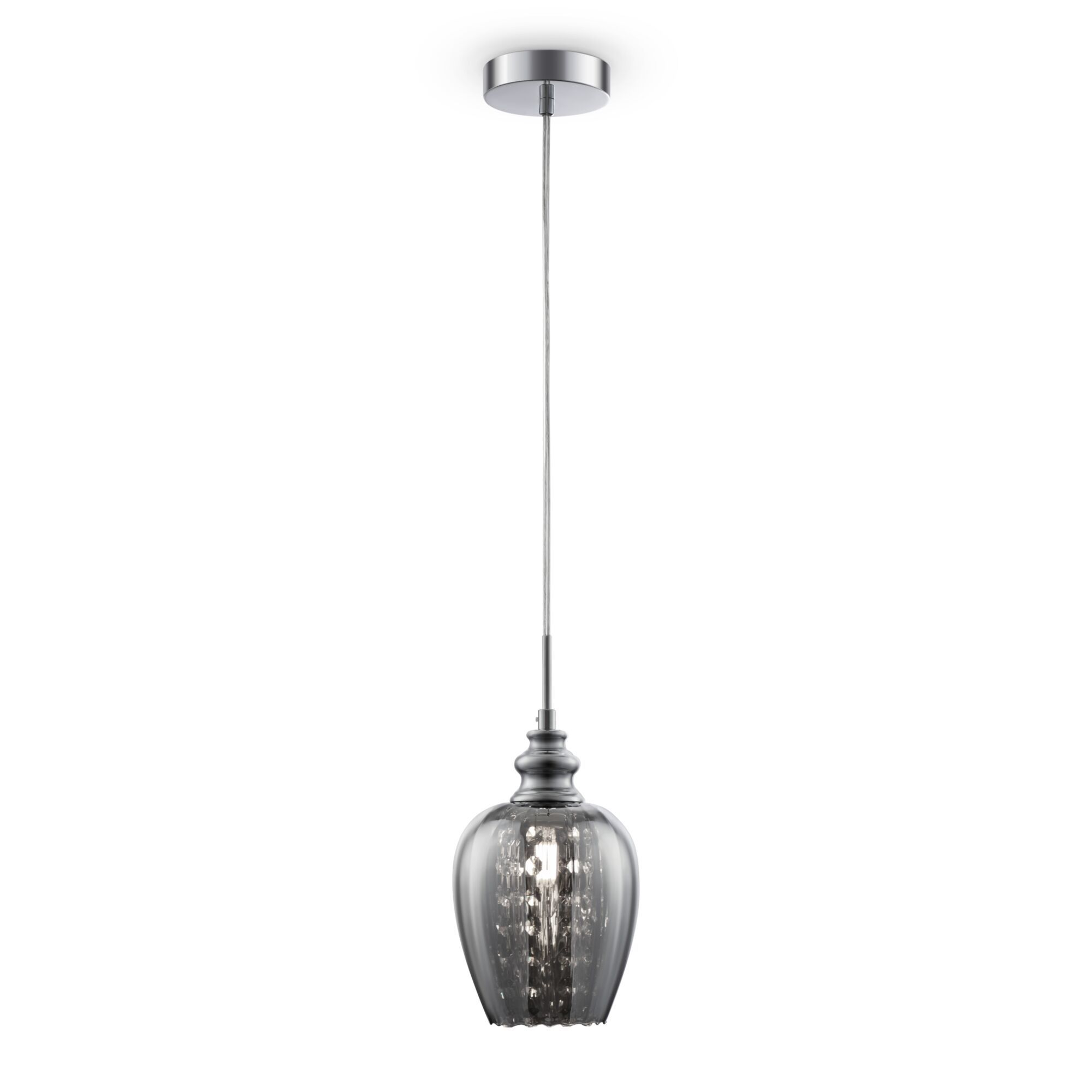 Подвесной светильник Maytoni Blues MOD033-PL-01-N (F003-11-N), 1xE14x40W, никель, дымчатый, прозрачный, металл, стекло, хрусталь - фото 2