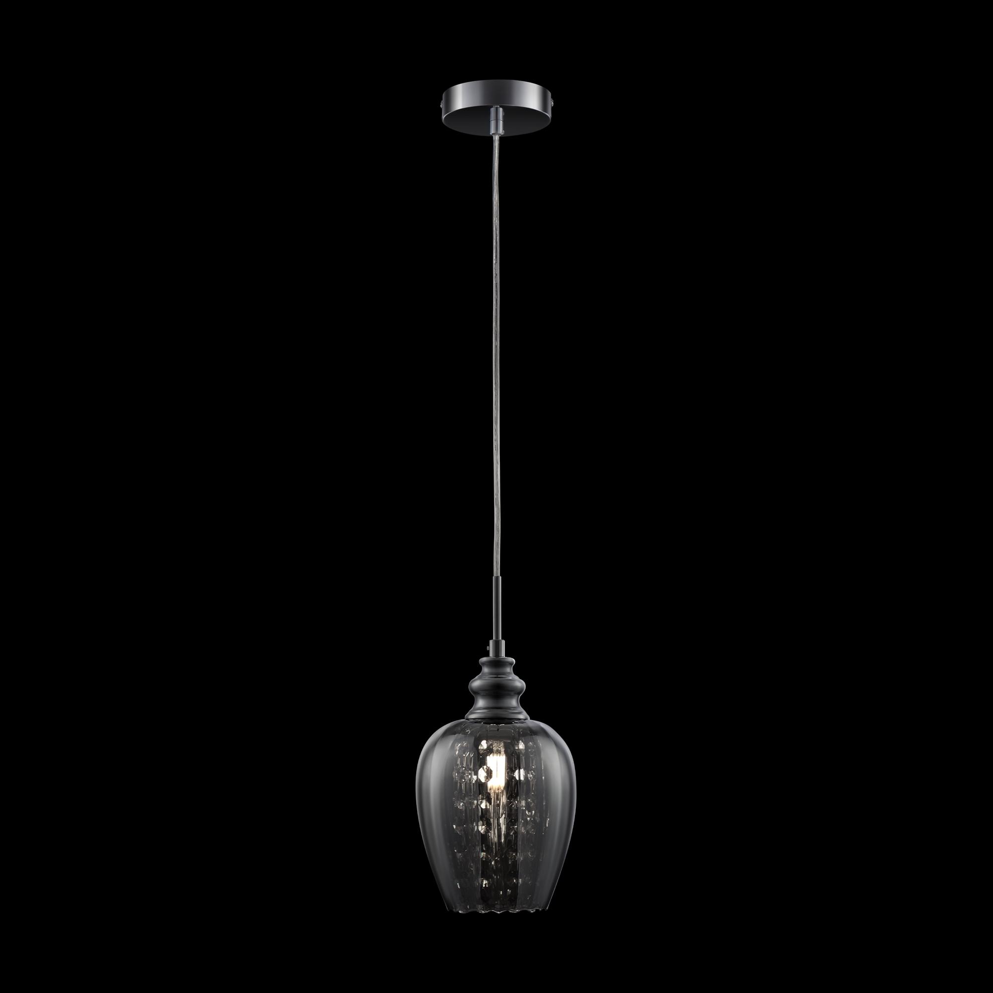 Подвесной светильник Maytoni Blues MOD033-PL-01-N (F003-11-N), 1xE14x40W, никель, дымчатый, прозрачный, металл, стекло, хрусталь - фото 3