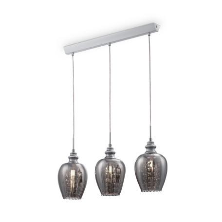 Подвесной светильник Maytoni Blues MOD033-PL-03-N (f003-33-n), 3xE14x40W, никель, дымчатый, прозрачный, металл, стекло, хрусталь