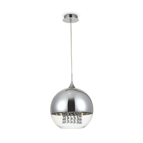 Подвесной светильник Maytoni Fermi P140-PL-170-1-N (F140-01-N), 1xE27x60W, никель, хром с прозрачным, прозрачный с хромом, прозрачный, металл, стекло