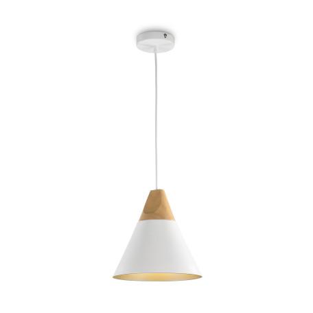 Подвесной светильник Maytoni Modern Bicones P359-PL-01-W (mod359-01-w), 1xE27x60W, белый, коричневый, металл с деревом, металл
