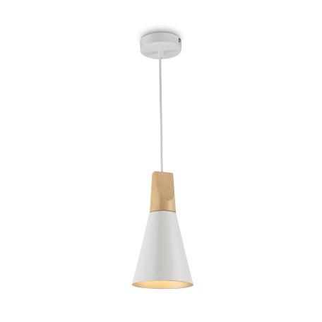 Подвесной светильник Maytoni Modern Bicones P359-PL-140-W (mod359-11-w), 1xE27x60W, белый, коричневый, металл с деревом, металл - миниатюра 1
